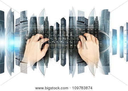 Womans hands with black keyboard