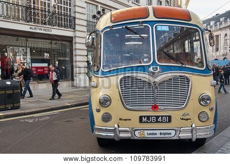 London, UK - October 31, 2015:  Regent street motor show - exhibition of old coaches . 31st October 2015 LONDON.UK