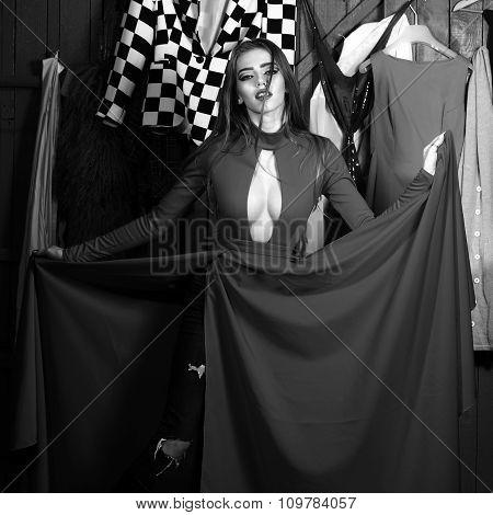 Diva In Dress In Wardrobe