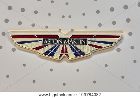 London, UK - October 31, 2015:  Regent street motor show - Aston Martin sign