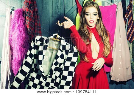 Stylish Girl In Wardrobe