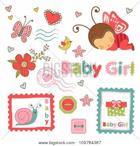 Colorful collection of baby girl announcement graphic elements