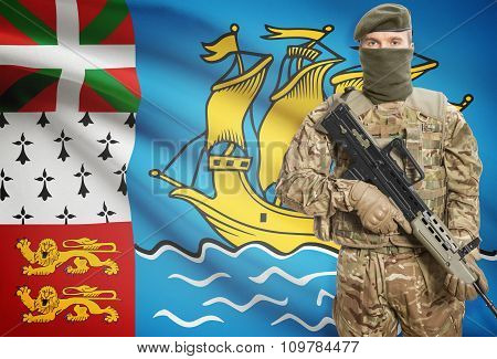 Soldier Holding Machine Gun With Flag On Background Series - Saint Pierre And Miquelon