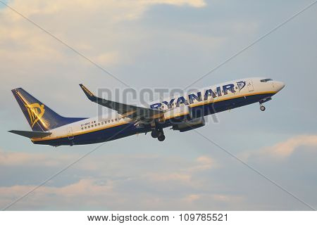 BUDAPEST, HUNGARY - NOVEMBER 1: Airliner of Ryanair taking off at Budapest Liszt Ferenc Airport, November 1, 2015. Ryanair is the largest low-cost carrier in Europe