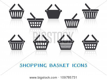 Shopping Basket Icons With Reflection