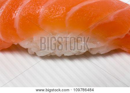 Traditional japanese salmon nigiri sushi.