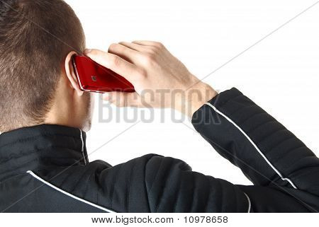 Man is talking on red smart phone | Isolated
