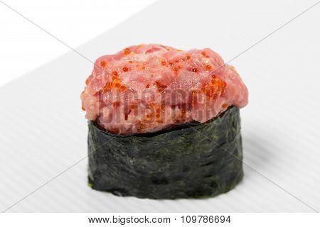 Gunkan sushi with tuna.