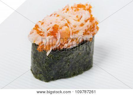 Gunkan sushi with snow crab.