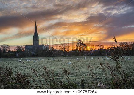 Winter Frosty Sunrise Landscape Salisbury Cathedral City In England