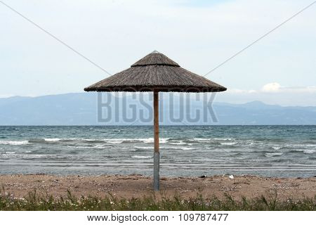 thatched umbrella at the beach