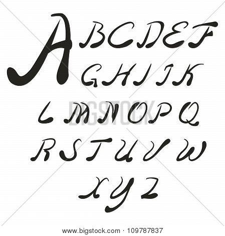 Set handwriting author of the English font