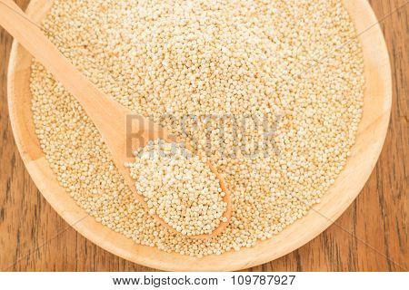Quinoa Grain In Wooden Plate