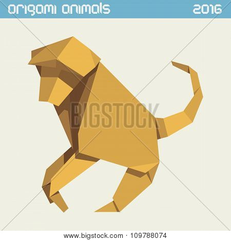 Origami Monkey. Vector Simple Flat Illustration. New Year 2016