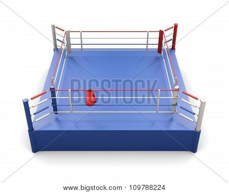 Boxing Ring And Gloves On The Ropes. 3D Illustration.