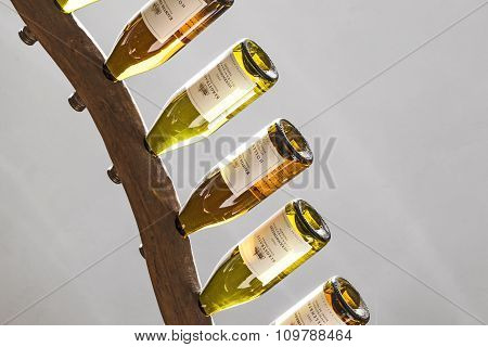 Riesling Wines In A Wine Rack At Cloister Ebersbach