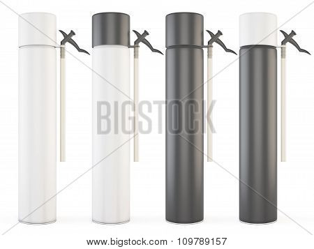 Set Of Closed Bottles With Construction Foam Isolated On White Background. 3D.