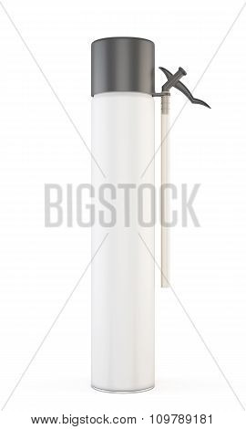 Closed Construction Foam Tube Isolated On White Background. 3D.