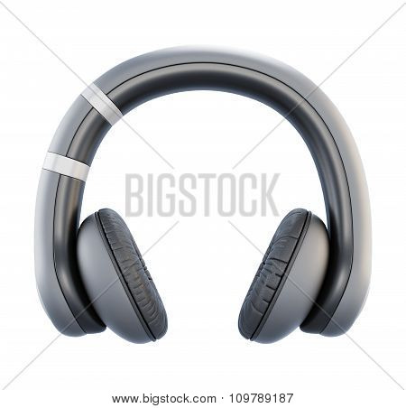 Headphones Front View On A White. 3D.