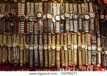 Golden Looking Watches At The Meena Bazaar Market  In Delhi, India.