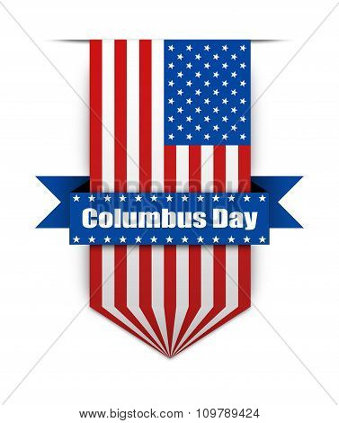 Color Flag On The Columbus Day.