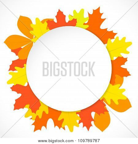 Round Paper With Autumn Leaves On The Background, In Vector