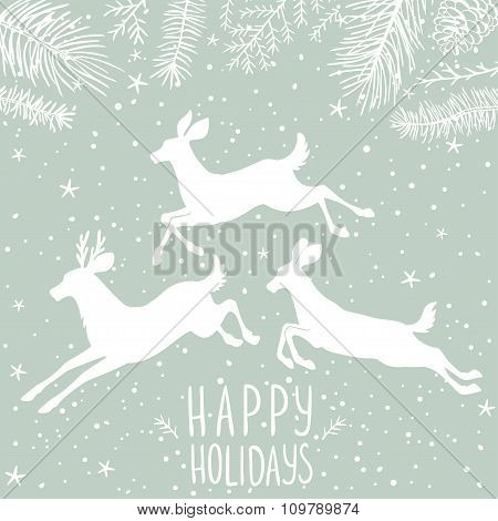 deer white holiday