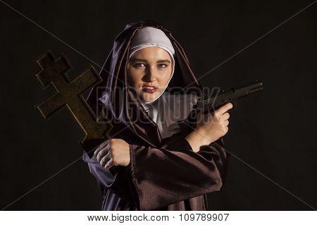 Nun With Gun And Cross
