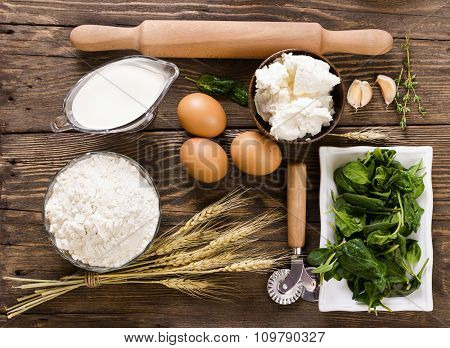 Ingredients For Ravioli With Spinach And Ricotta Cheese