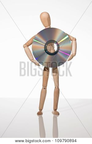 Puppet holding a cd