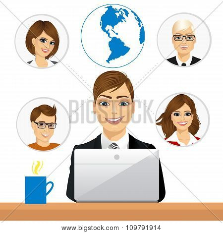 freelancer working in collaboration with coworkers over internet