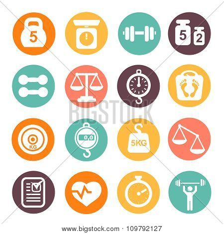 weight and fitness colored icon set