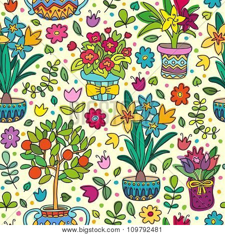 Seamless Pattern Doodle Plants In Pots, Floral Background.