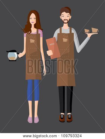 Baristas Serve A Coffee