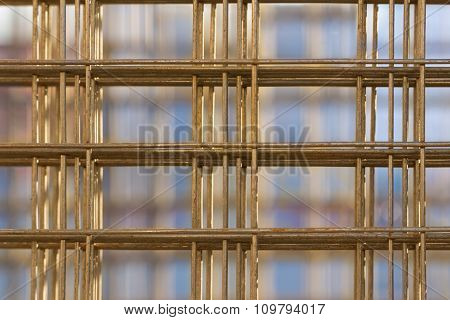 Pattern from stack of rebar grids at the construction site