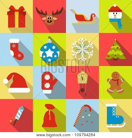 16 christmas flat icons set