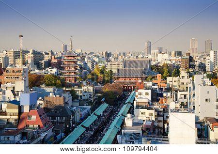 Aerial View Of Senso-ji Temple In Asakusa, Tokyo