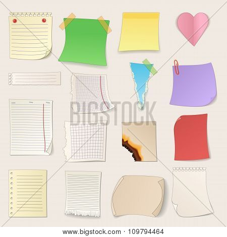 Different note papers and stickers