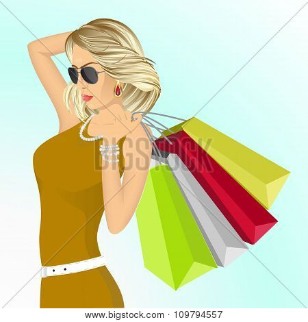young elegant woman with shopping bags