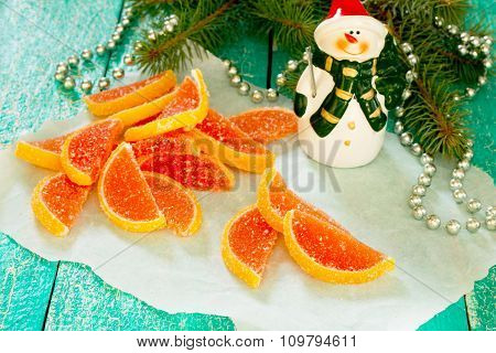 Marmalade Grapefruit Slices In A New Year's Eve