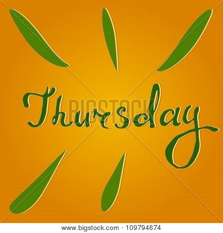 Vector text Thursday in orange and green