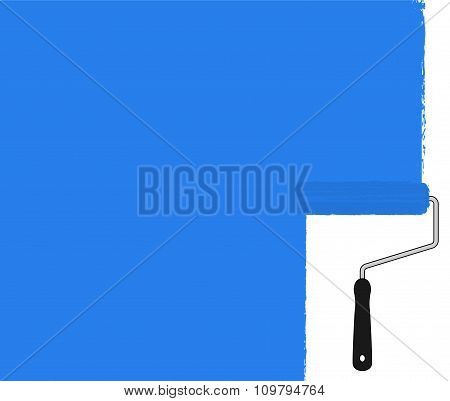 Blue paint roller painting the wall. Vector