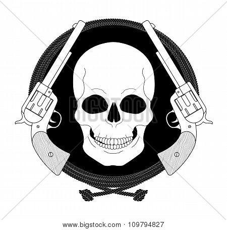 Wild skull west emblem. Linear