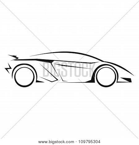 New car silhouette line icon