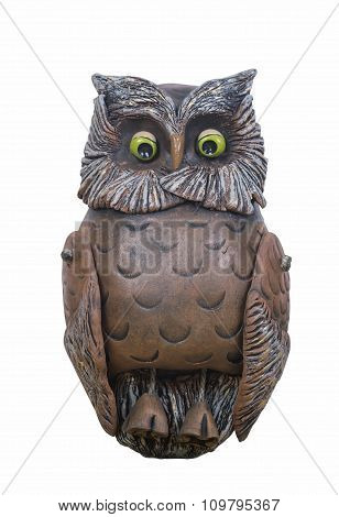 Clay Figurine Of Owl Isolated On White.