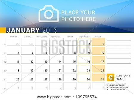 Desk Calendar For 2016 Year. January. Vector Design Print Template With Place For Photo, Logo And Co
