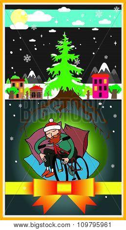 Hipster With Bike Underground Winter