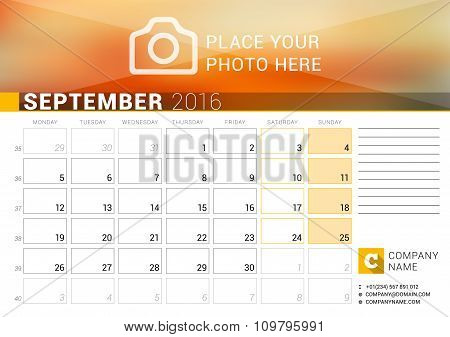 Desk Calendar For 2016 Year. September. Vector Design Print Template With Place For Photo, Logo And
