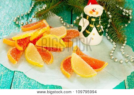 Marmalade Lemon And Grapefruit Slices In A New Year's Eve