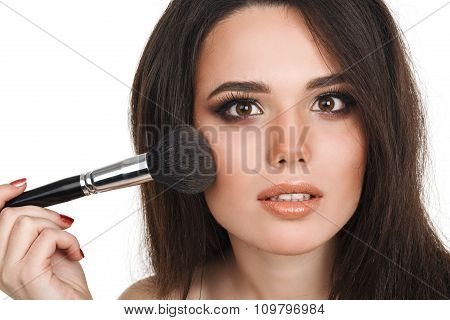 Beautiful young woman with tassels, skin care concept photo composition of brunette girl - isolated